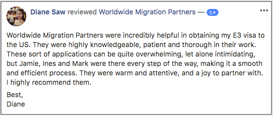 Visa Assistance Testimonial for Worldwide Migration Partners
