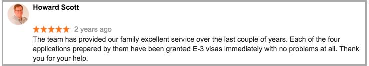 Worldwide Migration Partners E3 Visa Experts, client review
