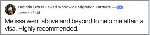 Worldwide Migration Partners Visa Experts, client review