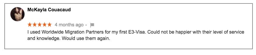 Worldwide Migration Partners E3 Visa Review MC