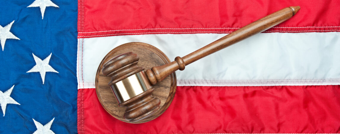 Gavel on top of a US flag